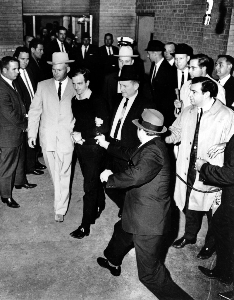 Oswald, moments before being shot by Jack Ruby