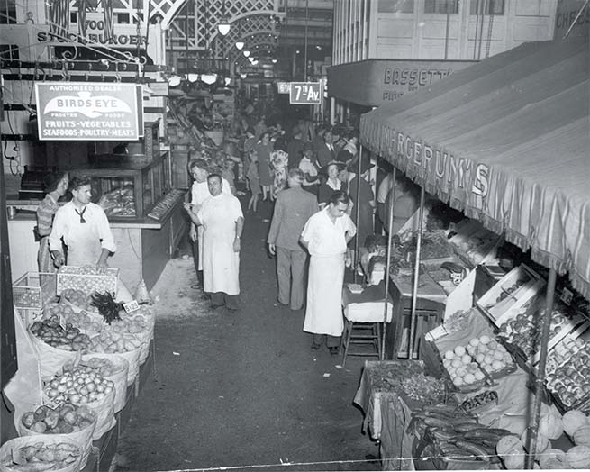 """""""Trains and Turnips,"""" Reading Terminal Market in 1942."""