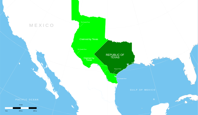 Map showing the territory of the Texas Republic