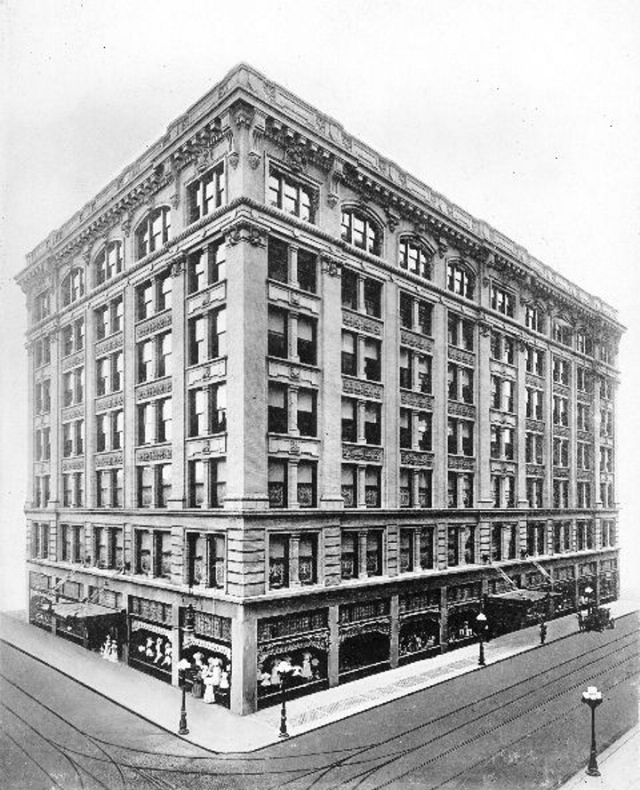 An early image of the Stewart Dry Goods Co., now home to the Embassy Suites hotel.