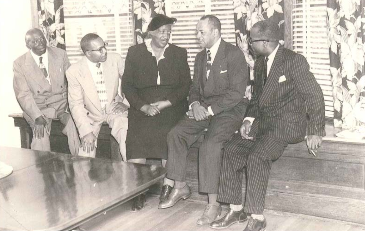 Gathering of political leaders in Judge Meeks' home. He is on the far right.