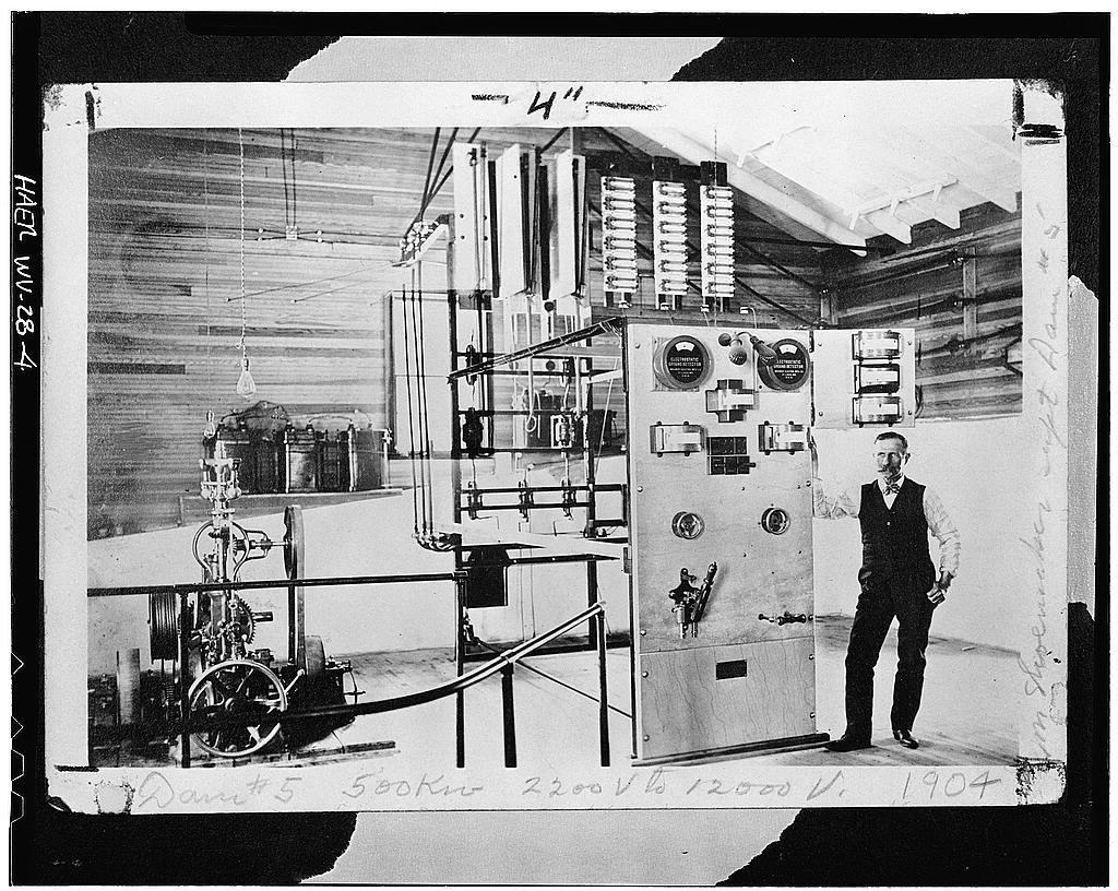 The interior of the power plant with Martinsburg Power Company Superintendent H.B. Shoemaker