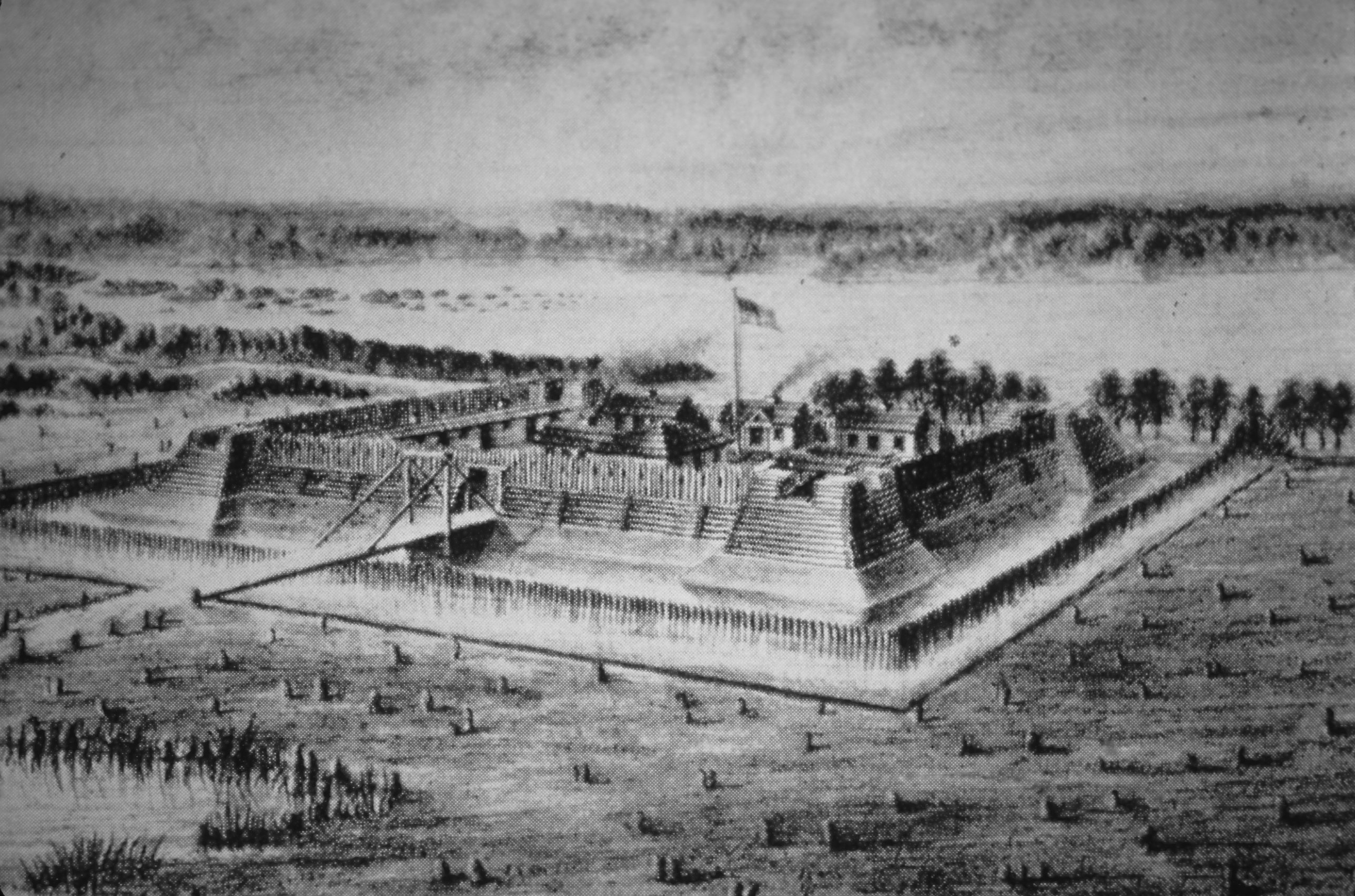 Fort Nelson - Note on slide: Sketch by Col. Durrett Filson Club 1885, 1782