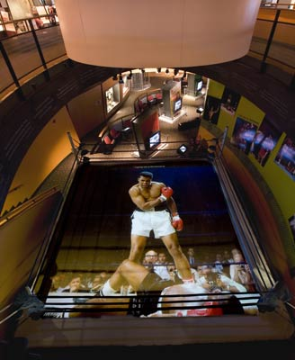 """The Greatest,"" Muhammad Ali's signature fight, displayed onto a full-size boxing ring"
