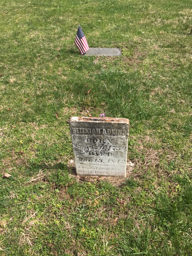 This is the grave of Hezekiah Adkins in Morrison Cemetery, not far from the historical marker.