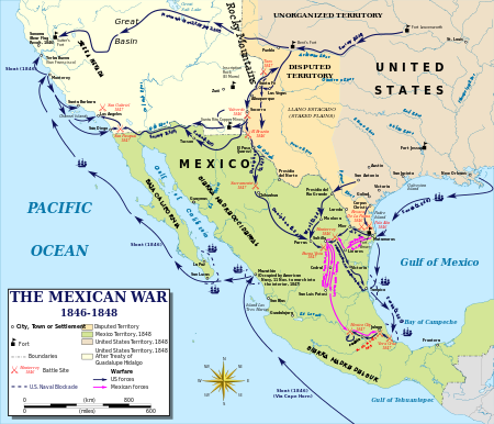 Overview map of the Mexican War