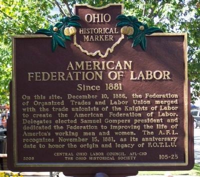 This marker was created and dedicated in 2008 by the Ohio Historical Society in partnership with the AFL-CIO