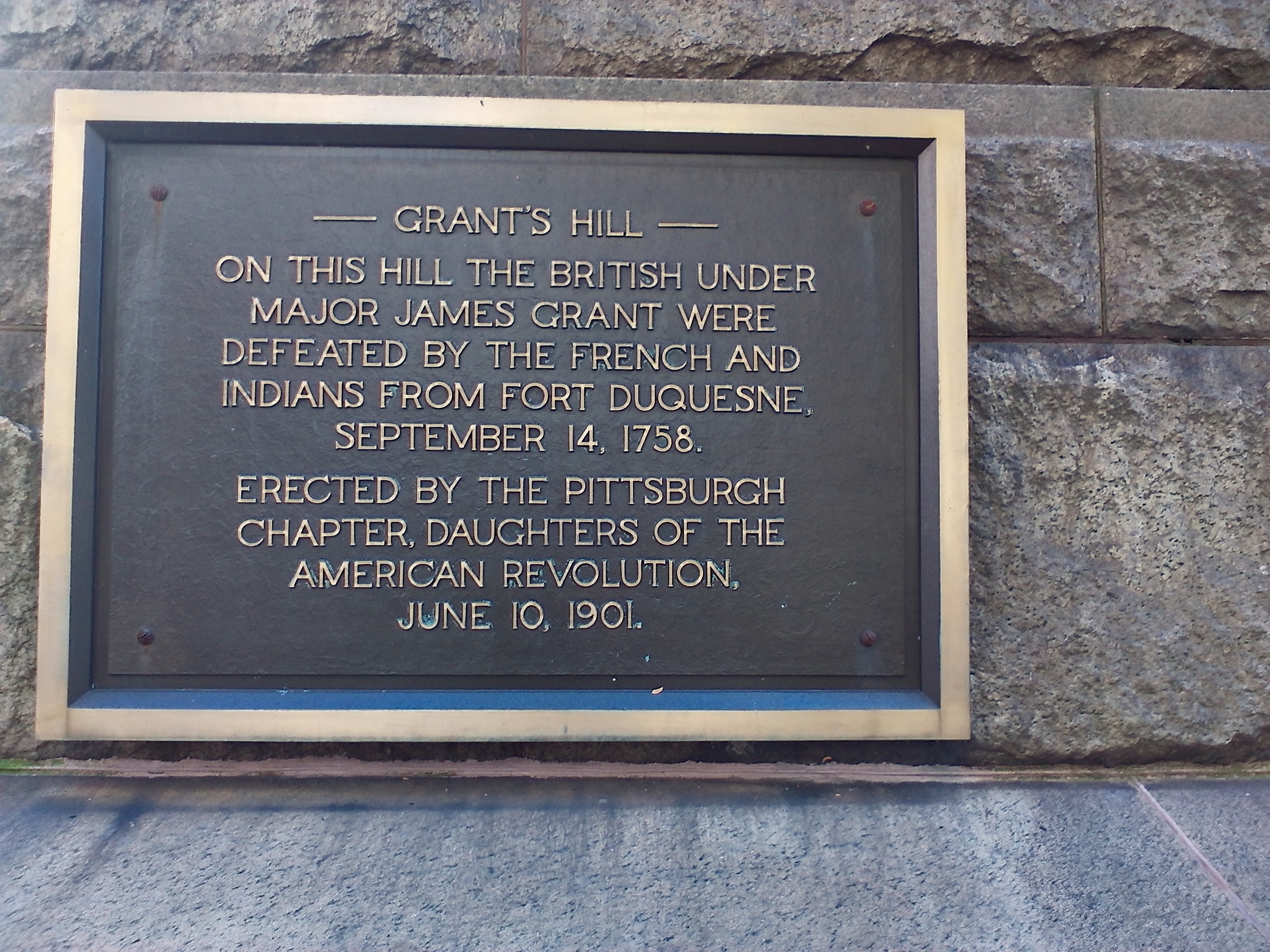 Historic Marker commemorating the battle of September 14, 1758, located on the Allegheny County Courthouse, corner of Grant Street and Fifth Avenue, Pittsburgh, PA 15219.