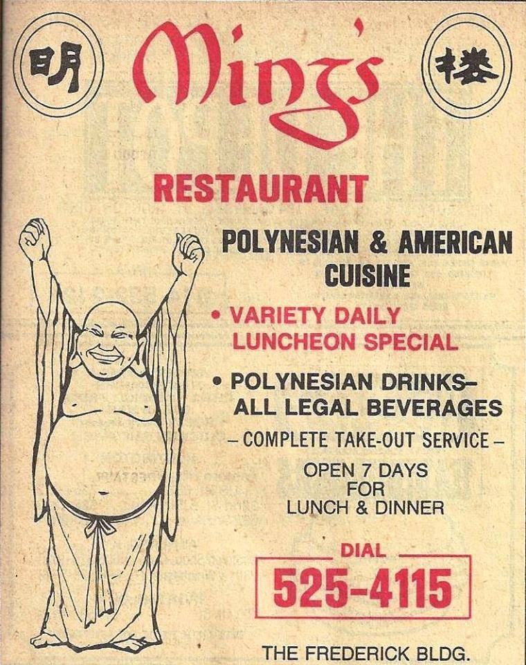Ad for Ming's while it was in the Frederick