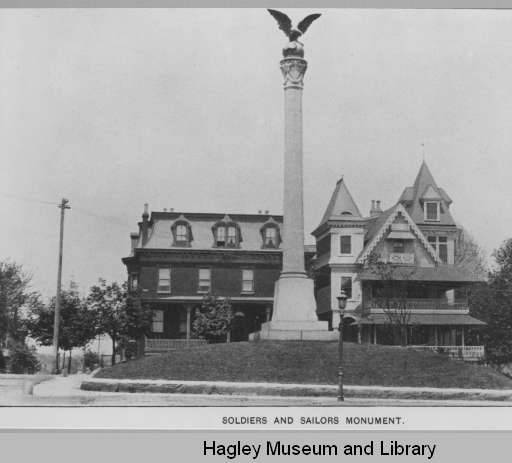 This historic photo of the monument was taken in the early 1900s. For a full view of the photo, please click on the Hagley Digital Archive link at the bottom of the entry.