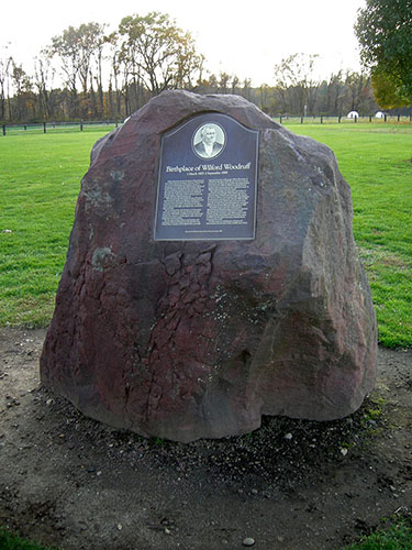 Wilford Woodruff birthplace marker, Fisher Meadows Park, Avon, Connecticut, November 2007. The monument was dedicated on April 24, 1999, by Elder Donald L. Staheli of the Second Quorum of the Seventy. Photograph by Alexander L. Baugh