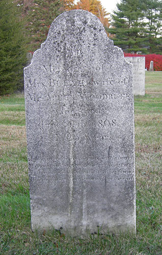 Grave marker of Beulah Thompson Woodruff, mother of Wilford Woodruff, West Avon Congregational Church Cemetery, West Avon, Connecticut, November 2007. Photograph by Alexander L. Baugh.