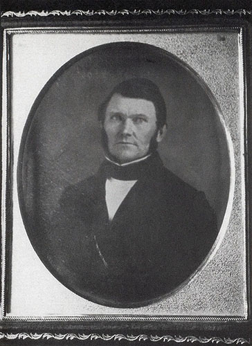 Wilford Woodruff daguerreotype taken in Boston while he presided over the Eastern States Mission, by Marsena Cannon, 1849 or 1850. Was in his early forties.