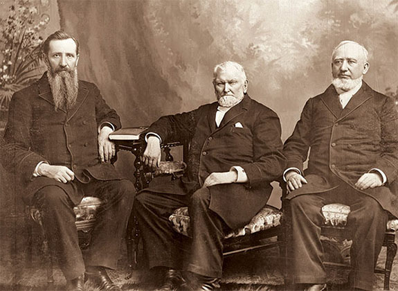 Wilford Woodruff (center) with George Q. Cannon, First Counselor (right), and Joseph F. Smith, Second Counselor (left), Sainsbury and Johnson photography studio, 1893. Courtesy of Church History Library, Salt Lake City.