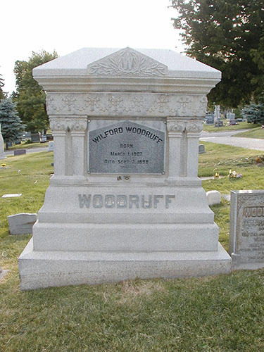 Grave marker of President Wilford Woodruff, Salt Lake City Cemetery, May 2006. Photograph by Alexander L. Baugh.