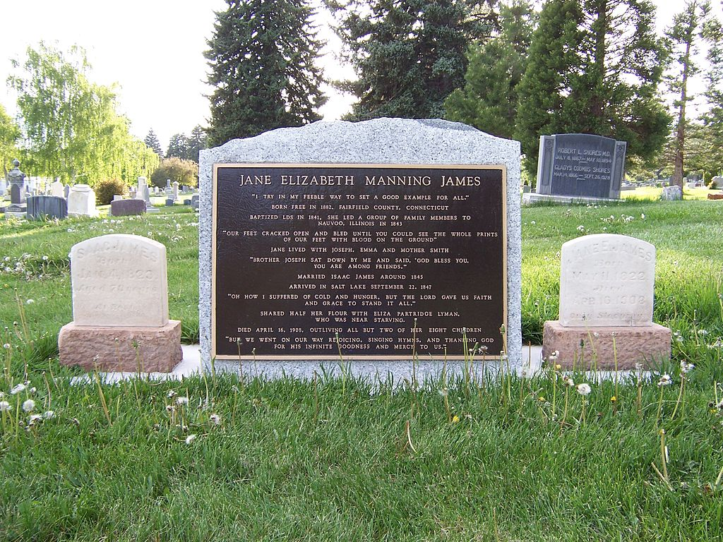 Front of monument to Jane Manning James in Salt Lake.