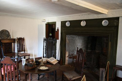 The kitchen/living room as it might have looked in the early 18th century.