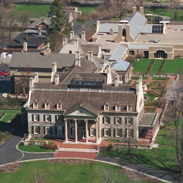 Aerial view of the museum. The archives building is in the back.