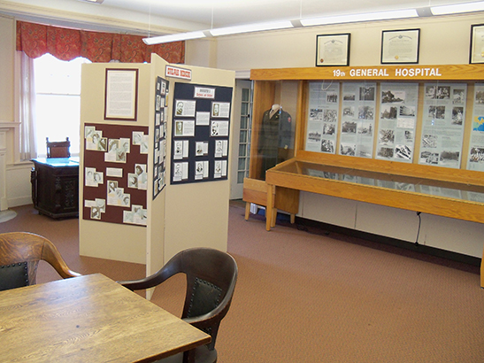Other interior view of the research library with exhibits. The museum welcomes researchers and general visitors and offers educational programs and workshops throughout the year.