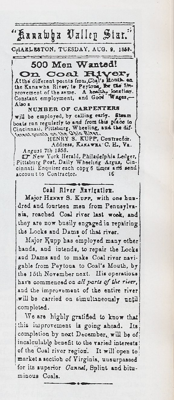 Advertisement for workers for workers on the Coal River from the Kanawha Valley Star, Aug. 9, 1868.  Taken from Kanawha Valley Images, pg. 69.