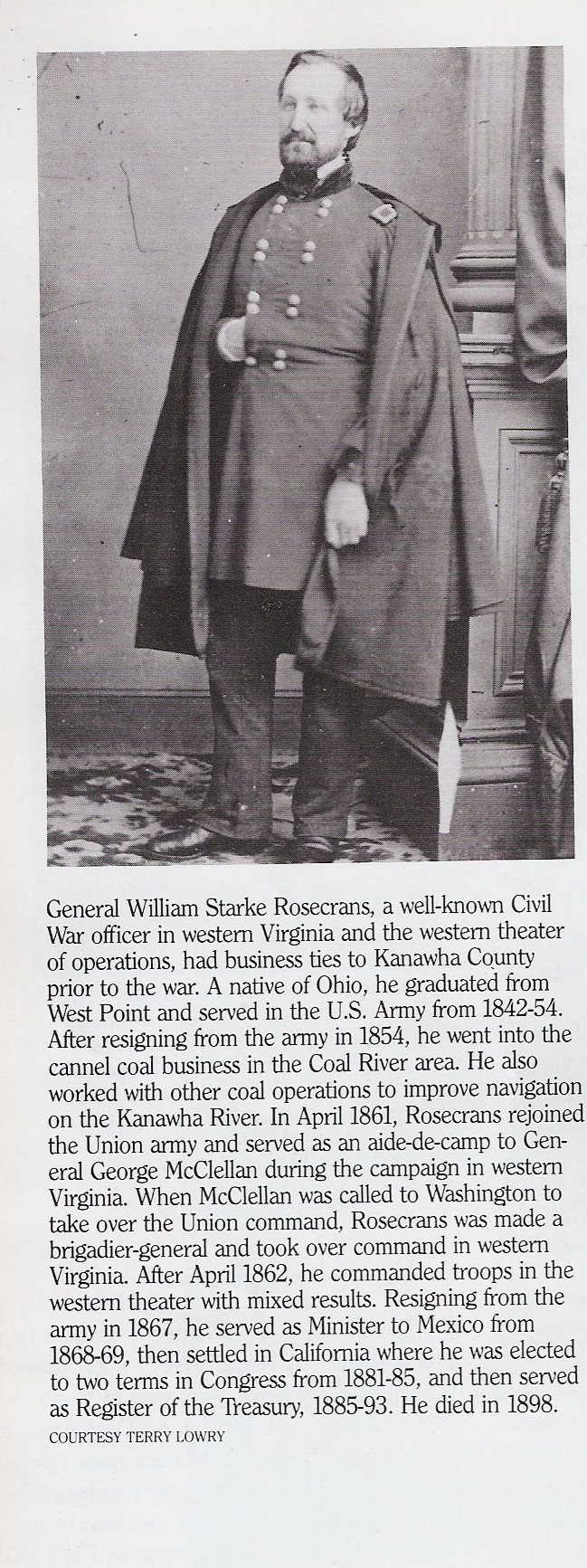 Photo and bio of William Rosecrans. Taken from Kanawha Valley Images, pg. 70.