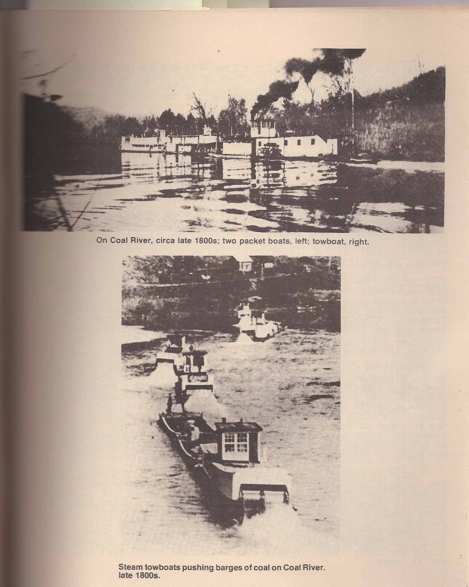Two photos of steamboats on the Coal River.  Taken from Tornado Remembers, pg. 11.