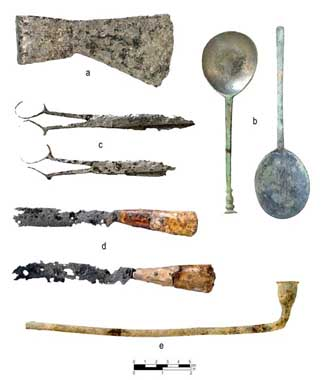 European artifacts found at the Occaneechi site, demonstrating early trade networks and interaction between Occaneechi and European settlers. Courtesy of UNC Research Laboratories of Archaeology.