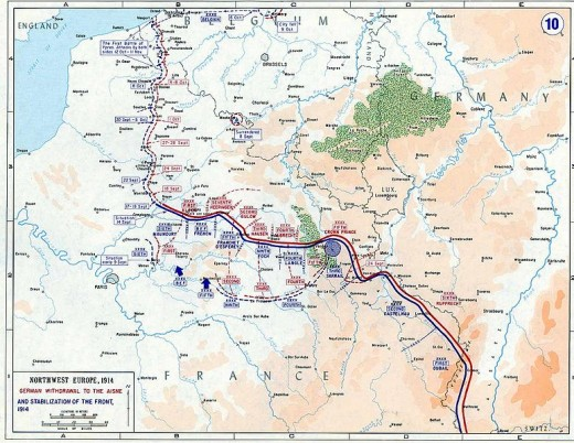 Map of the Western Front trench lines
