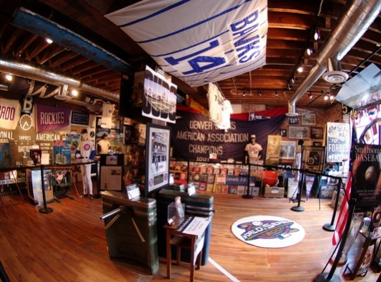 Take a look inside of B's Ballpark Museum. A few items on display can be seen in this image.