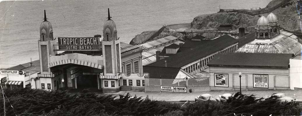 "The Sutro Baths (c. 1940), built by Adolph Sutro. This indoor swimming complex was a popular destination for passengers on the ""Cliff Line"""