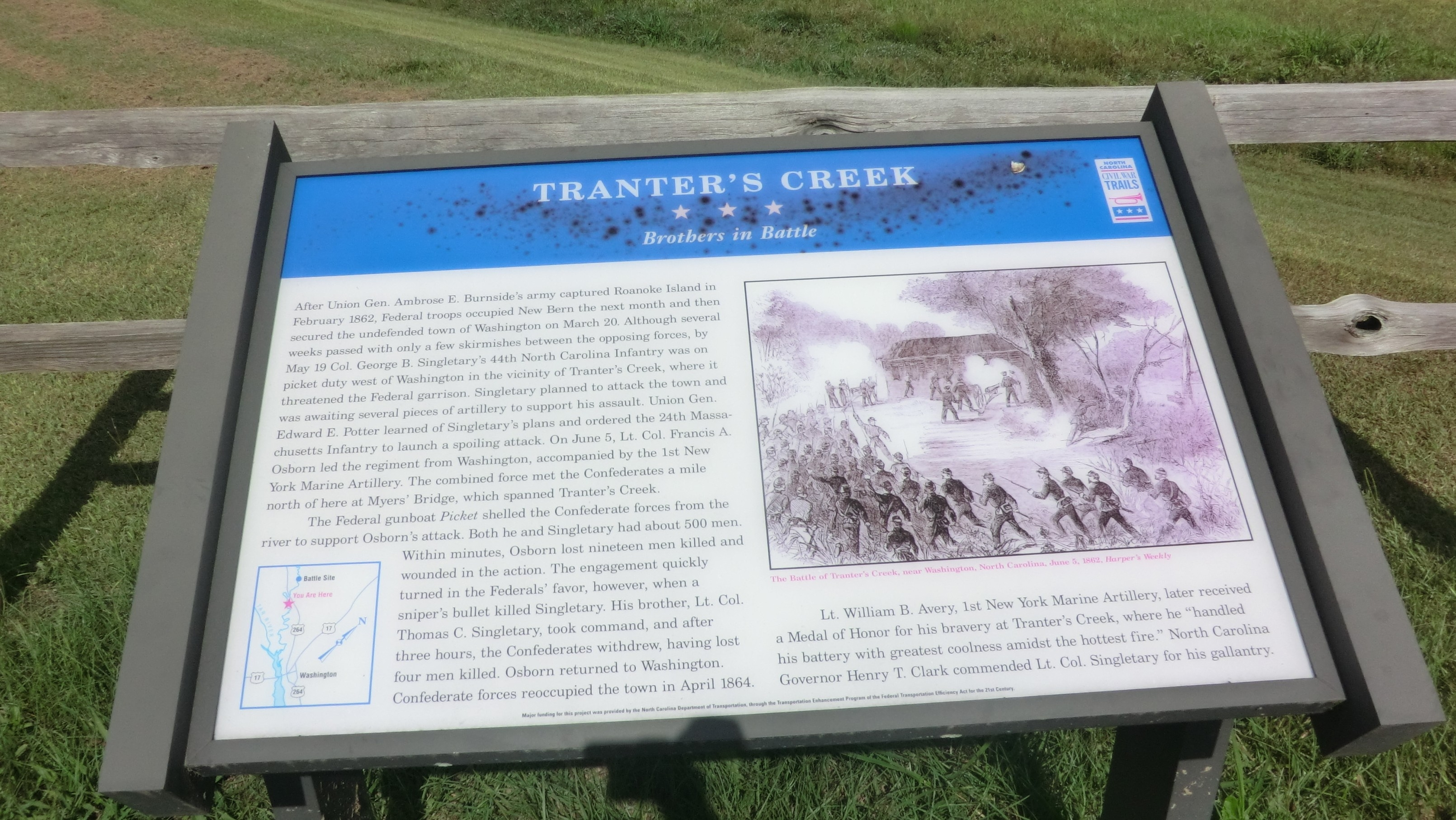 Tranter's Creek marker is located in Beaufort County, North Carolina and was installed in December 2007. It is located on the south side of U.S. Highway 264, about eight miles west of Washington and about one mile south of the battle site.