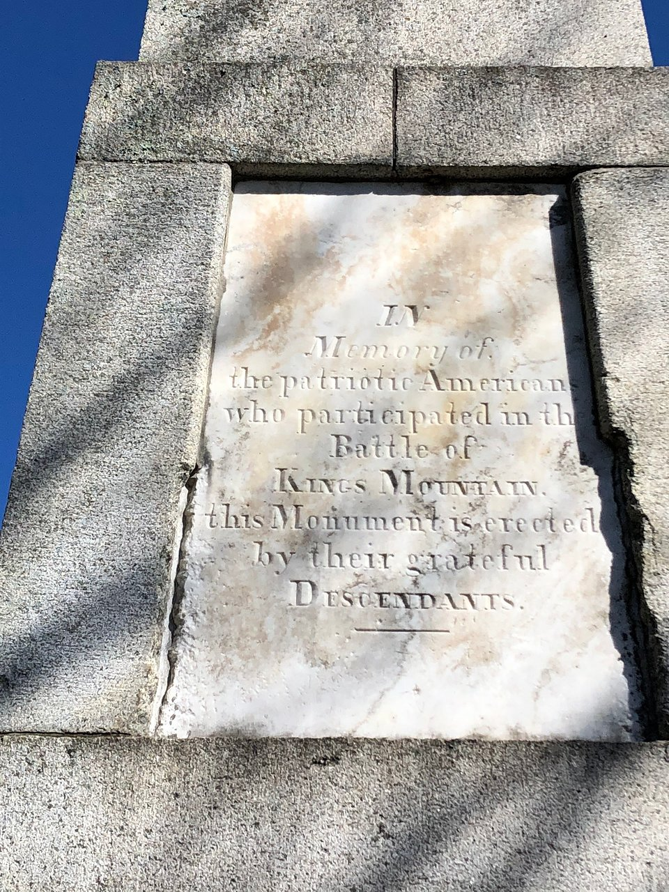 Front inscription on Battle of Kings Mountain Centennial Monument