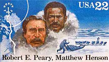A U.S. Postal Service stamp that honors Peary and Henson.