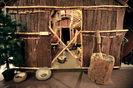 Among the museum's exhibits is this replica longhouse.