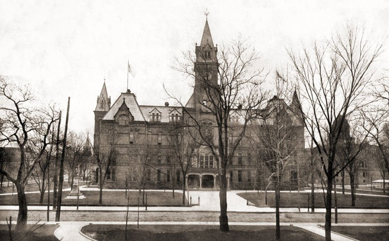 The old State Capitol building, which burned down in 1921. View is from Davis Park, looking across Capitol Street. Courtesy of Jerry Waters, MyWVHome.