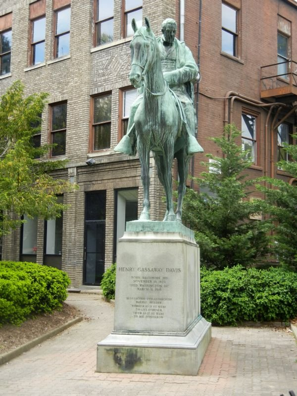 A bronze equestrian statue of Henry Gassaway Davis, erected n 1927. Courtesy of Mountain State News.