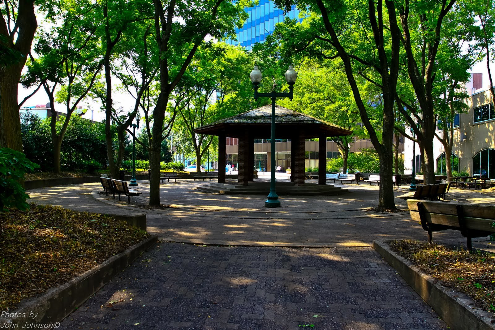 The gazebo which stands on the old site of the YMCA in what is now part of Davis Park. Photo by John Johnson.