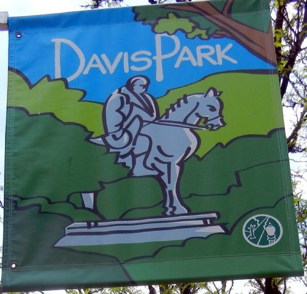 A banner in Davis Park. Courtesy of Mountain State News.