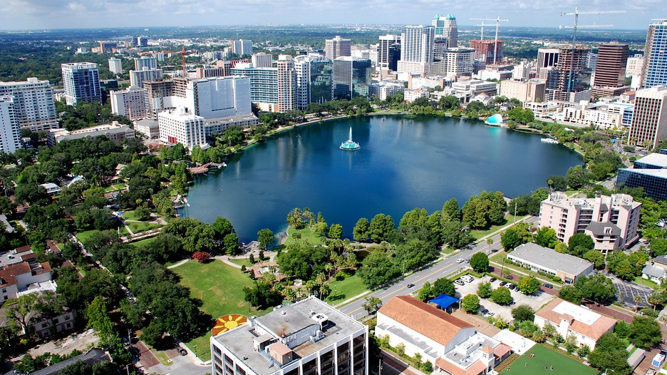 The fountain is positioned slightly off center in the lake because a giant sinkhole was found in the center. Image obtained from Expedia.