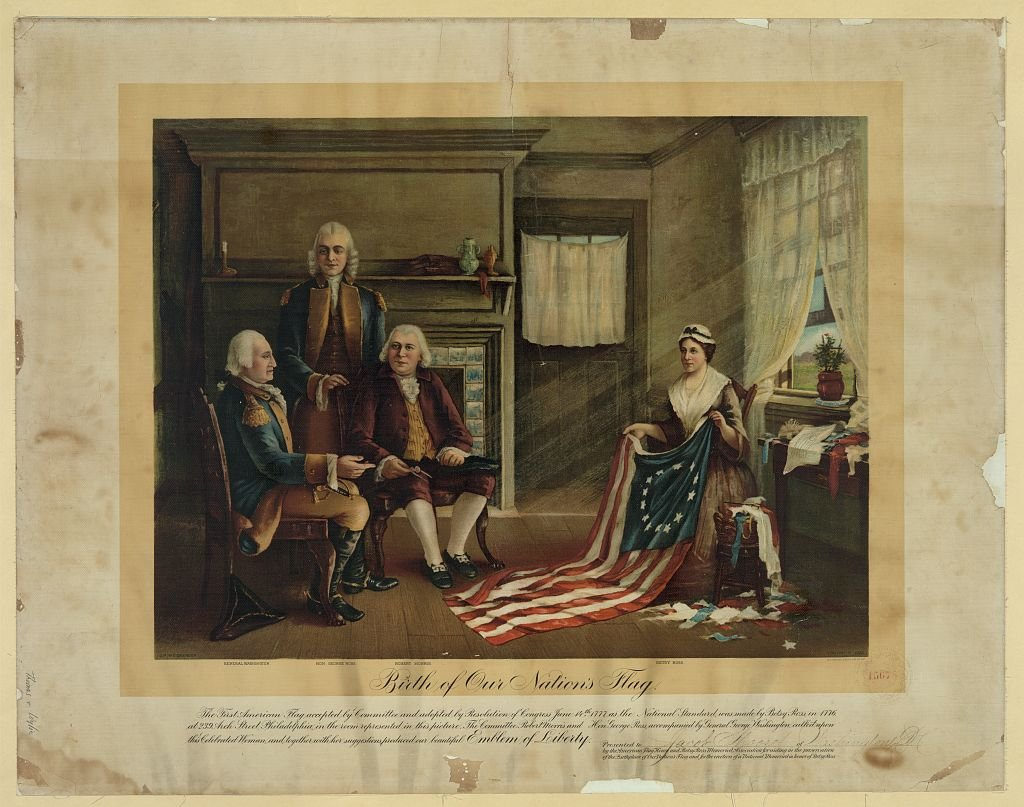 "When the legend of Betsy Ross and the American flag emerged in the 1870s, it inspired many publications and artworks. This painting, entitled ""Birth of our Nation's Flag,"" was made by Charles Weisgerber in 1892; copies of it were sold to raise money to pu"