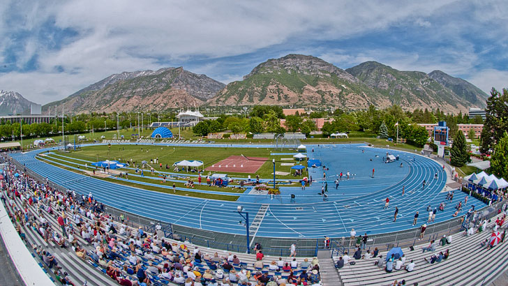 BYU Athletics captures a mid-level image of  Clarence F. Robison Track and Field Complex from a fan's perspective.
