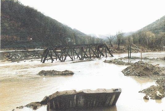 The Rowlesburg Bridge over Cheat River after the 1985 flood. Courtesy of WVNews.com.