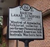 The Bascom Lamar Lunsford historical marker on the campus of Mars Hill University.