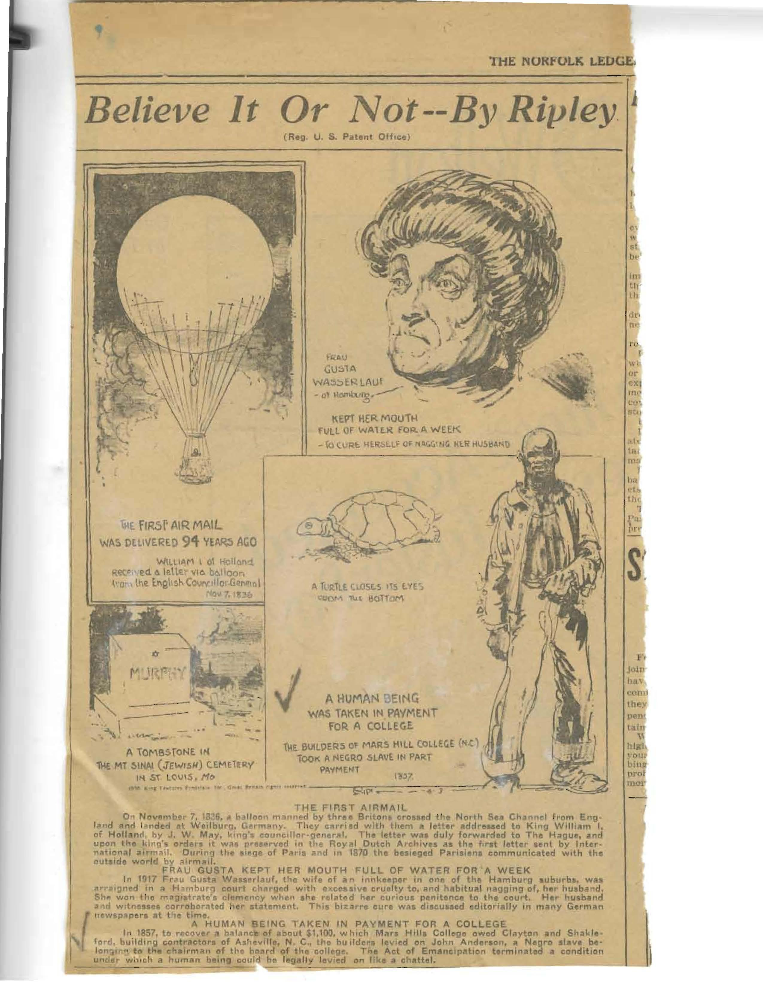 A cartoon in Ripley's Believe It Or Not depicting Joe Anderson. Courtesy of The Southern Appalachian Archives.