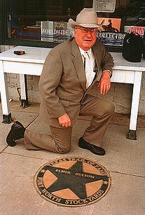 Elmer Kelton with his star on the Fort Worth Stockyard walk of fame