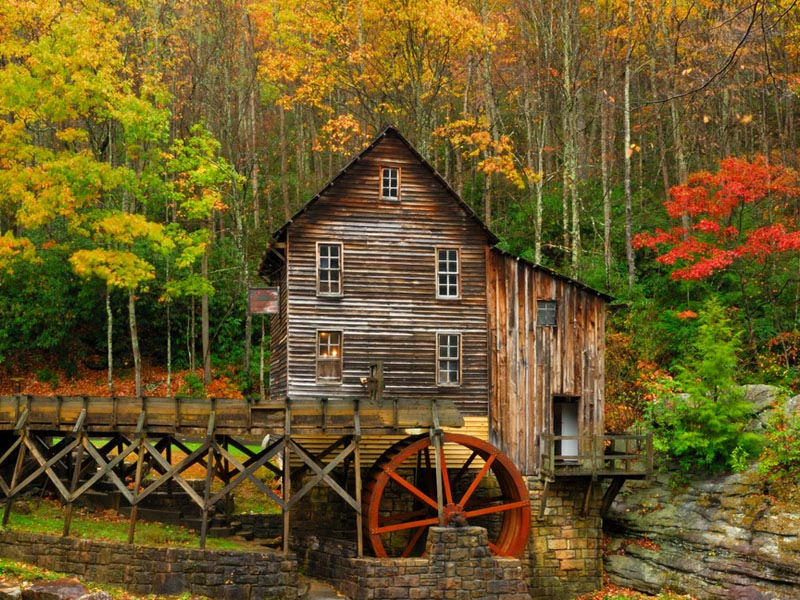 Glade Creek Grist Mill. The basic structure of the mill came from the Stoney Creek Grist Mill which dates back to 1890.