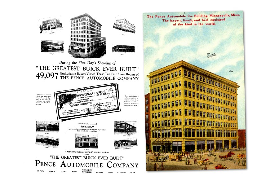 Postcard and ads from the first years of the Pence Automobile Company in Minneapolis from the Nokohaha History Blog