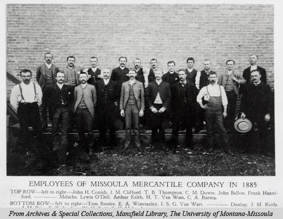A picture of the employees working at the newly named Missoula Mercantile Company in 1885. Image courtesy of mtmemory.org