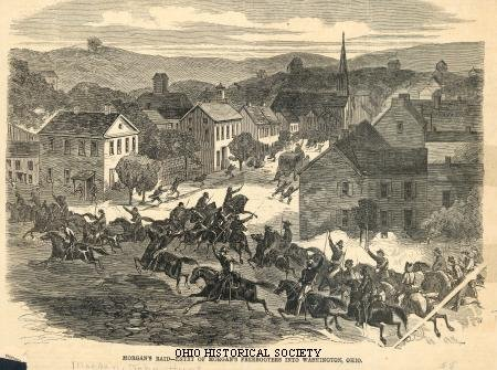 Article of Morgan's Raiders entering Washington,Ohio, from Harper's Weekly, Saturday, August 15, 1863.