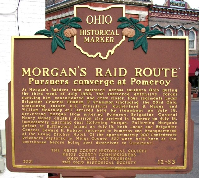 This is side A of the marker. It tells about the raid route and who was within it.